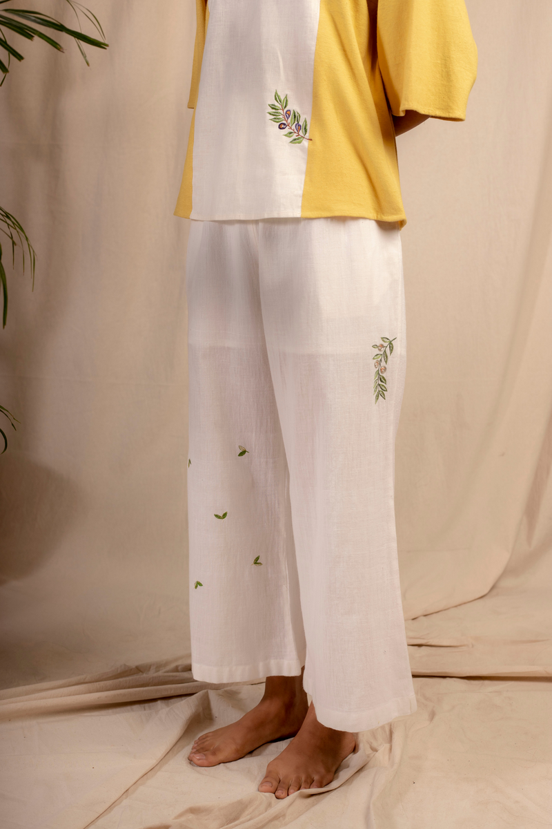 Sui | OLIVE ME embroidered handwoven organic cotton casual trousers from Granita Summer Collection 2019