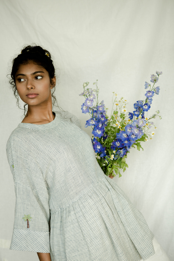 Sui | PALM LOVE (KHADI EDITION) embroidered, organic cotton khadi anti-fit peplum top from Basic-ally Sui Basics Collection 2019