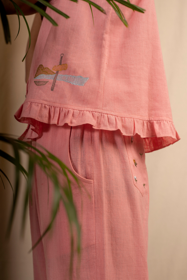 Sui | ROSA embroidered, herbal-dyed handwoven organic cotton strappy top with ruffle details from Granita Summer Collection 2019
