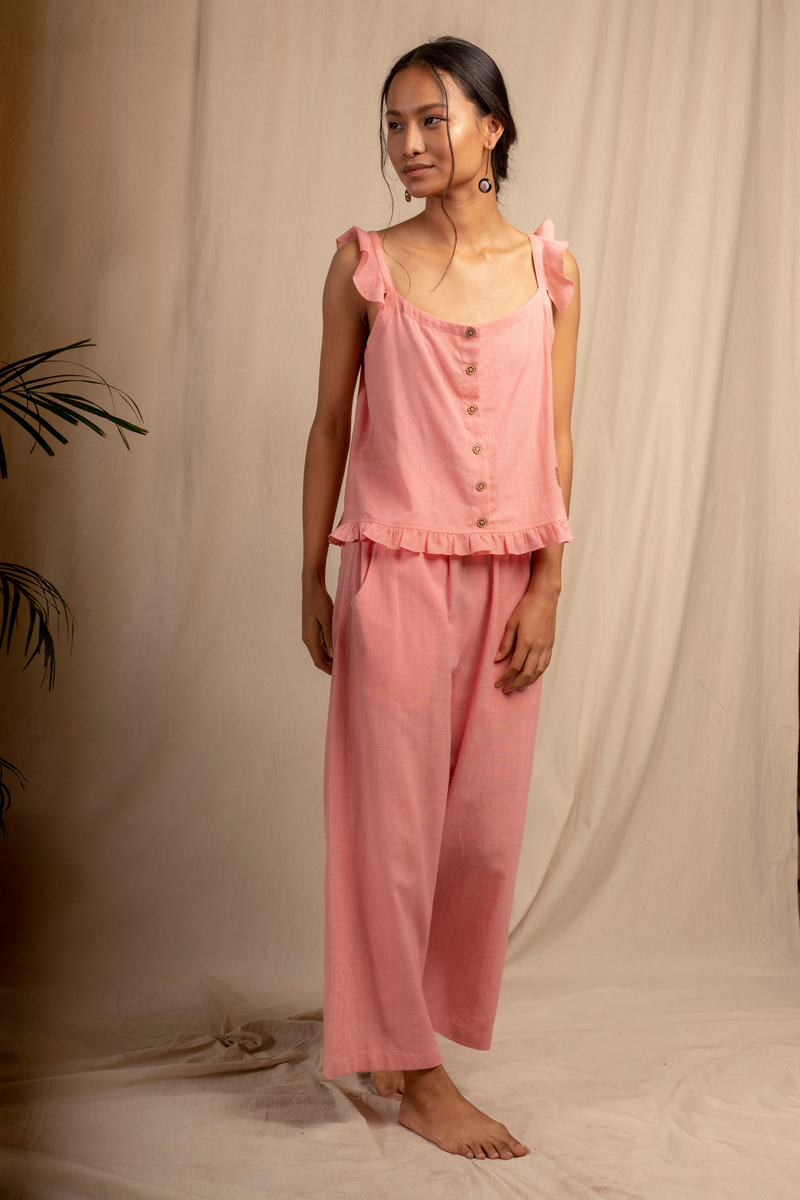 Sui | ROSA embroidered, herbal-dyed handwoven organic cotton casual trousers from Granita Summer Collection 2019