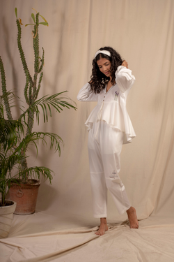 Sui | ROSALBA embroidered organic cotton casual trousers from Granita Summer Collection 2019