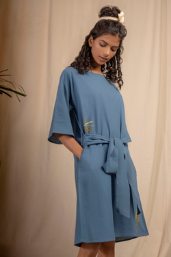 Sui | SEAS THE DAY hand-embroidered, herbal-dyed recycled fabric belted shift dress from Granita Summer Collection 2019