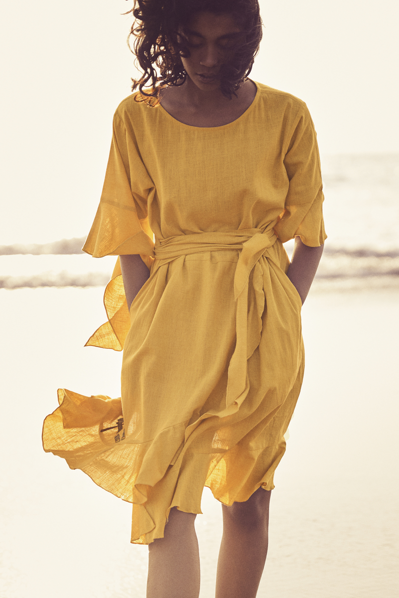 Sui | SERENO hand-embroidered, herbal-dyed organic cotton khadi belted dress with ruffle details from Granita Summer Collection 2019