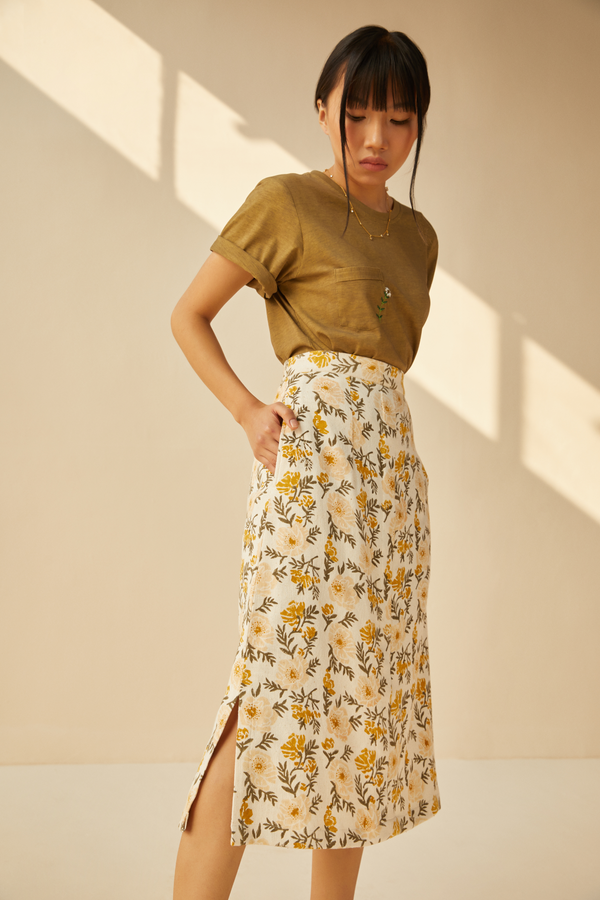 Sunshine Poppy handwoven organic cotton skirt