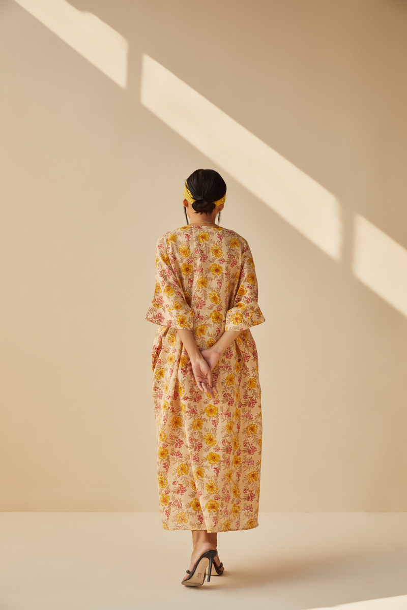 The Flower Power handwoven organic cotton kaftan
