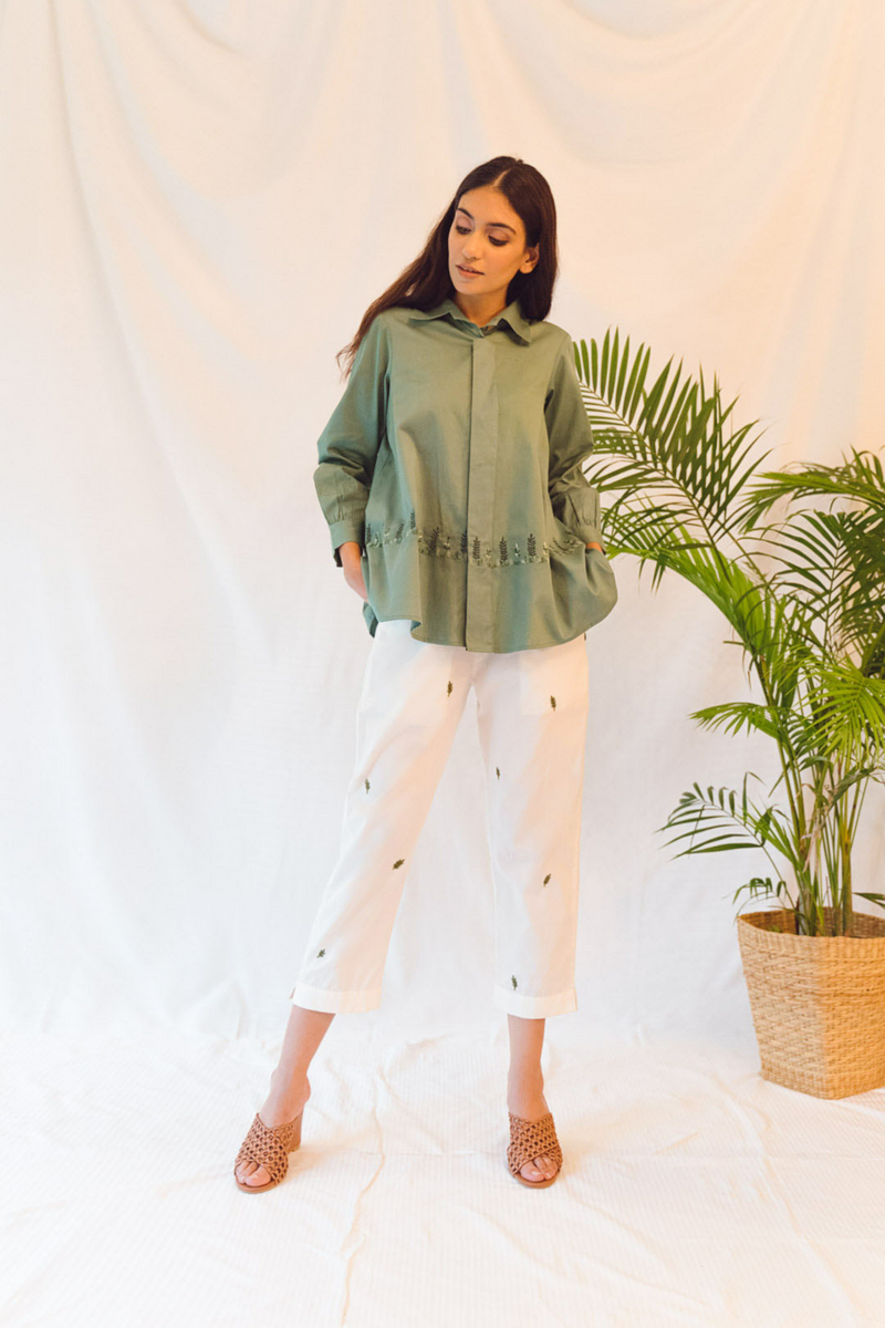 Sui | THE COAST hand-embroidered, casual organic cotton trousers from Flow Winter Collection 2019