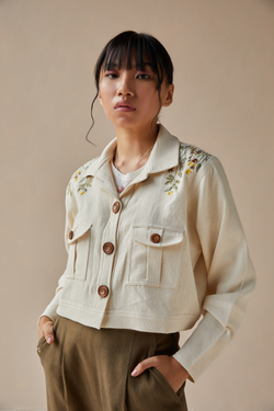 Wildflower Oasis handwoven organic cotton crop jacket