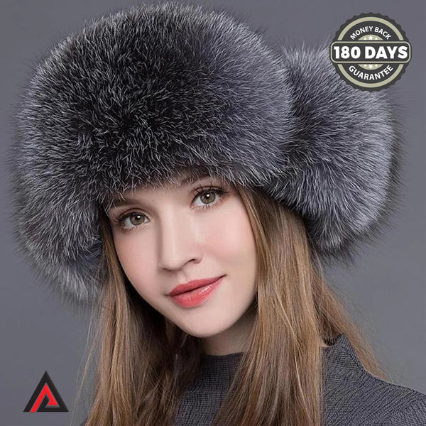 Max Fox Fur Women Natural Raccoon Fox Fur Winter Thick Warm Bomber Hat