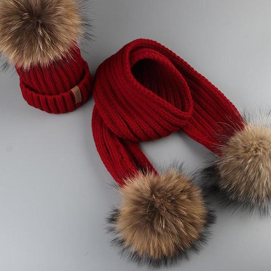 73d1a0707d6717 ... Winter Baby Real Fur Pompom Knit Beanie and Scarves Set for Kids ...