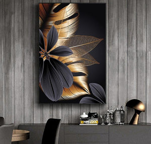Black and Gold Hojas Abstract Plant Flower