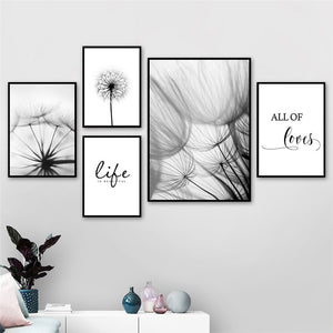 Black White Loves Life Quotes Wall Art
