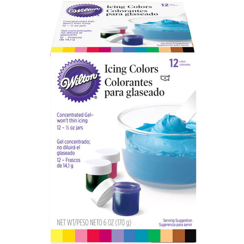 Ensemble de 12 colorants en gel marque Wilton, 2201-1380