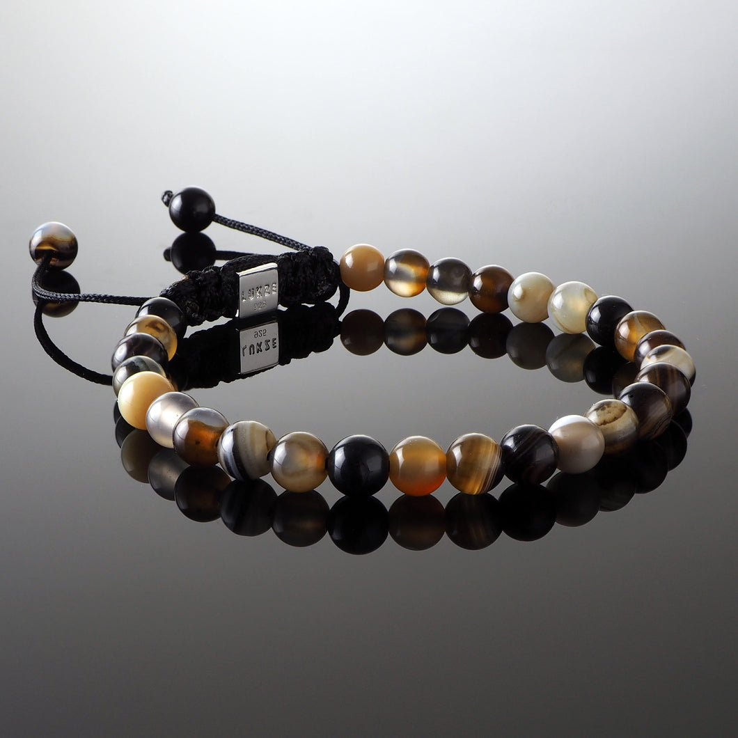 Brown Striped Agate Macramé Bracelet