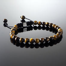 Load image into Gallery viewer, Yellow Tiger's Eye Macramé Bracelet