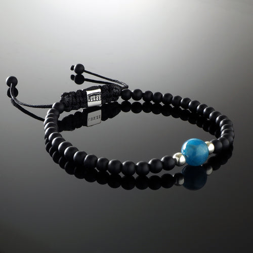 Natural Blue A Grade Apatite Gemstone Handmade Beaded Bracelet with 925 Sterling Silver Accents and Adjustable White Gold Slip Knot Closure - Finished with Matte Black Onyx Spiritual Jewelry Stones