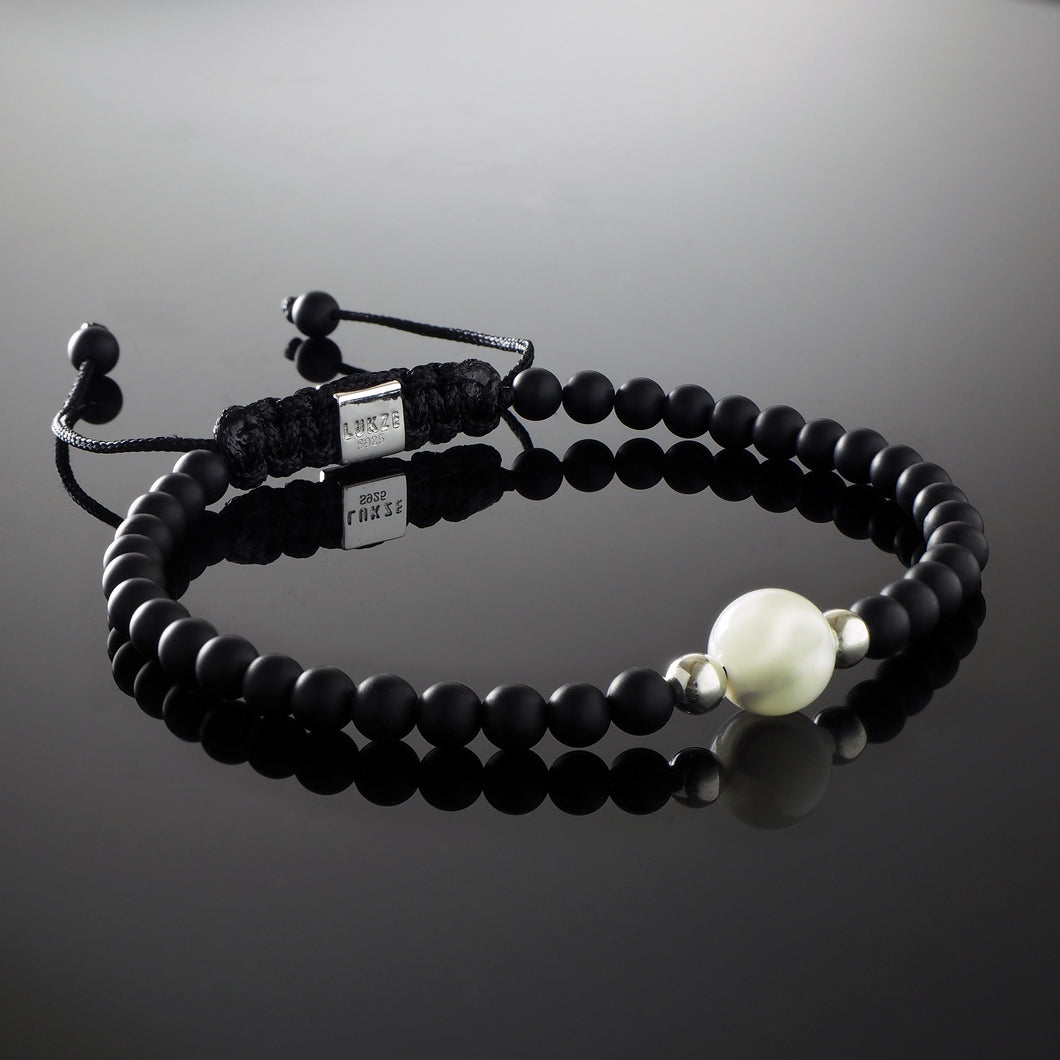 Natural Mother of Pearl Gemstone Handmade Beaded Bracelet with 925 Sterling Silver Accents and Adjustable White Gold Slip Knot Closure - Finished with Matte Black Onyx Spiritual Jewelry Stones