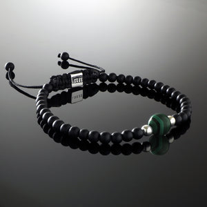 Natural Malachite Gemstone Handmade Beaded Bracelet with 925 Sterling Silver Accents and Adjustable White Gold Slip Knot Closure - Finished with Matte Black Onyx Spiritual Jewelry Stones