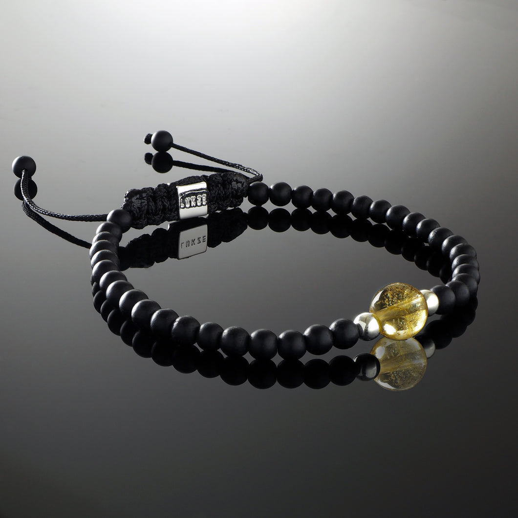 Natural Citrine Gemstone Handmade Beaded Bracelet with 925 Sterling Silver Accents and Adjustable White Gold Slip Knot Closure - Finished with Matte Black Onyx Spiritual Jewelry Stones