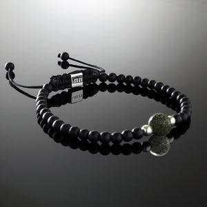 Natural Russian Serpentine Gemstone Handmade Beaded Bracelet with 925 Sterling Silver Accents and Adjustable White Gold Slip Knot Closure - Finished with Matte Black Onyx Spiritual Jewelry Stones