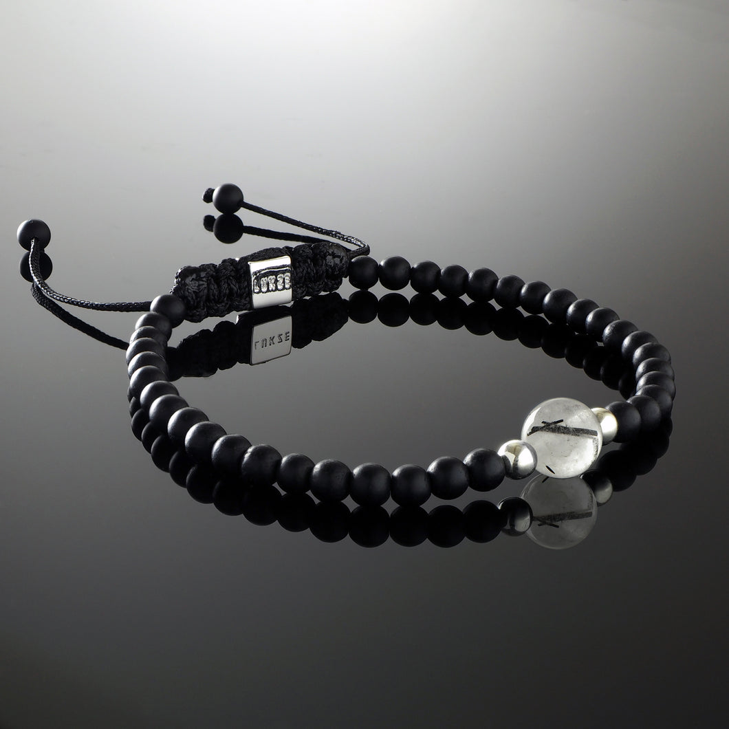 Natural Tourmalinated Quartz Gemstone Handmade Beaded Bracelet with 925 Sterling Silver Accents and Adjustable White Gold Slip Knot Closure - Finished with Matte Black Onyx Spiritual Jewelry Stones