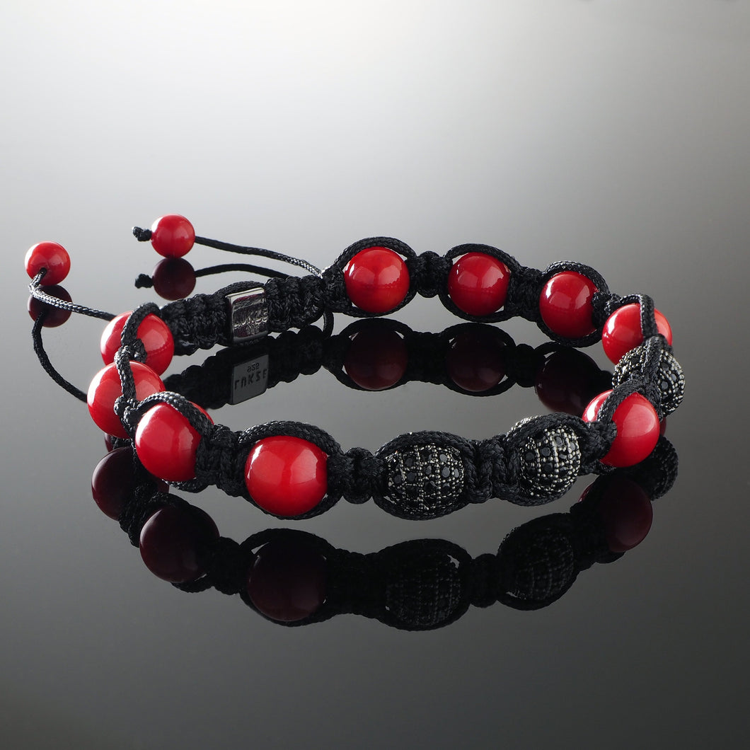 Natural Coral Gemstone Handmade Beaded Shamballa Bracelet with 925 Sterling Silver Accents and Adjustable White Gold Slip Knot Closure - Finished with Black Diamond encrusted balls - Spiritual Jewelry Stones