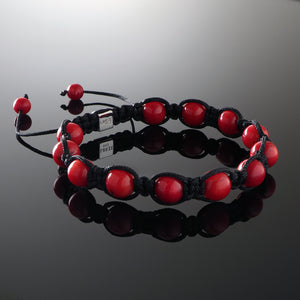 Natural Coral Gemstone Handmade Beaded Shamballa Bracelet with 925 Sterling Silver Accents and Adjustable White Gold Slip Knot Closure - Spiritual Jewelry Stones