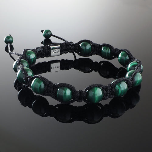 Natural Malachite Gemstone Handmade Beaded Shamballa Bracelet with 925 Sterling Silver Accents and Adjustable White Gold Slip Knot Closure - Spiritual Jewelry Stones