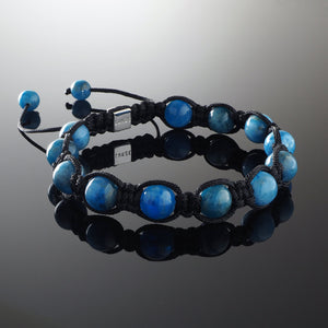 Natural Apatite Gemstone Handmade Beaded Shamballa Bracelet with 925 Sterling Silver Accents and Adjustable White Gold Slip Knot Closure - Spiritual Jewelry Stones