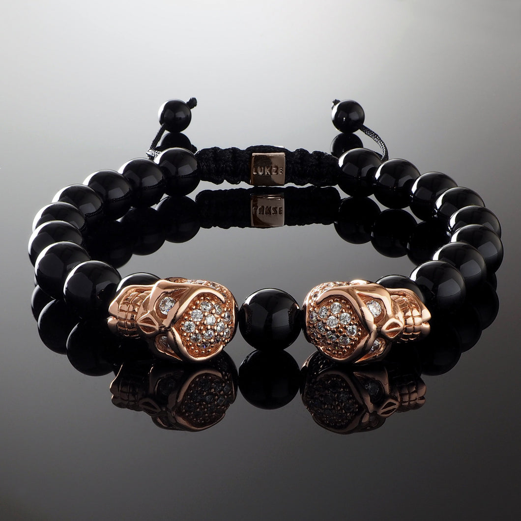 Natural Polished Onyx Gemstone Handmade Beaded Bracelet with 925 Sterling Silver Accents and Adjustable White Gold Slip Knot Closure - Finished with thick Rose Gold plated 925 Silver & Cubic Zirconia CZ Diamond Skull heads - - Spiritual Jewelry Stones