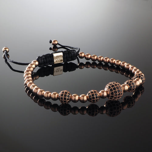 Handmade Beaded Macrame Bracelet with 925 Sterling Silver Adjustable Rose Gold Slip Knot Closure - Finished with Rose Gold filled 4mm beads and Cubic Zirconia CZ Diamond encrusted balls - Spiritual Jewelry Stones