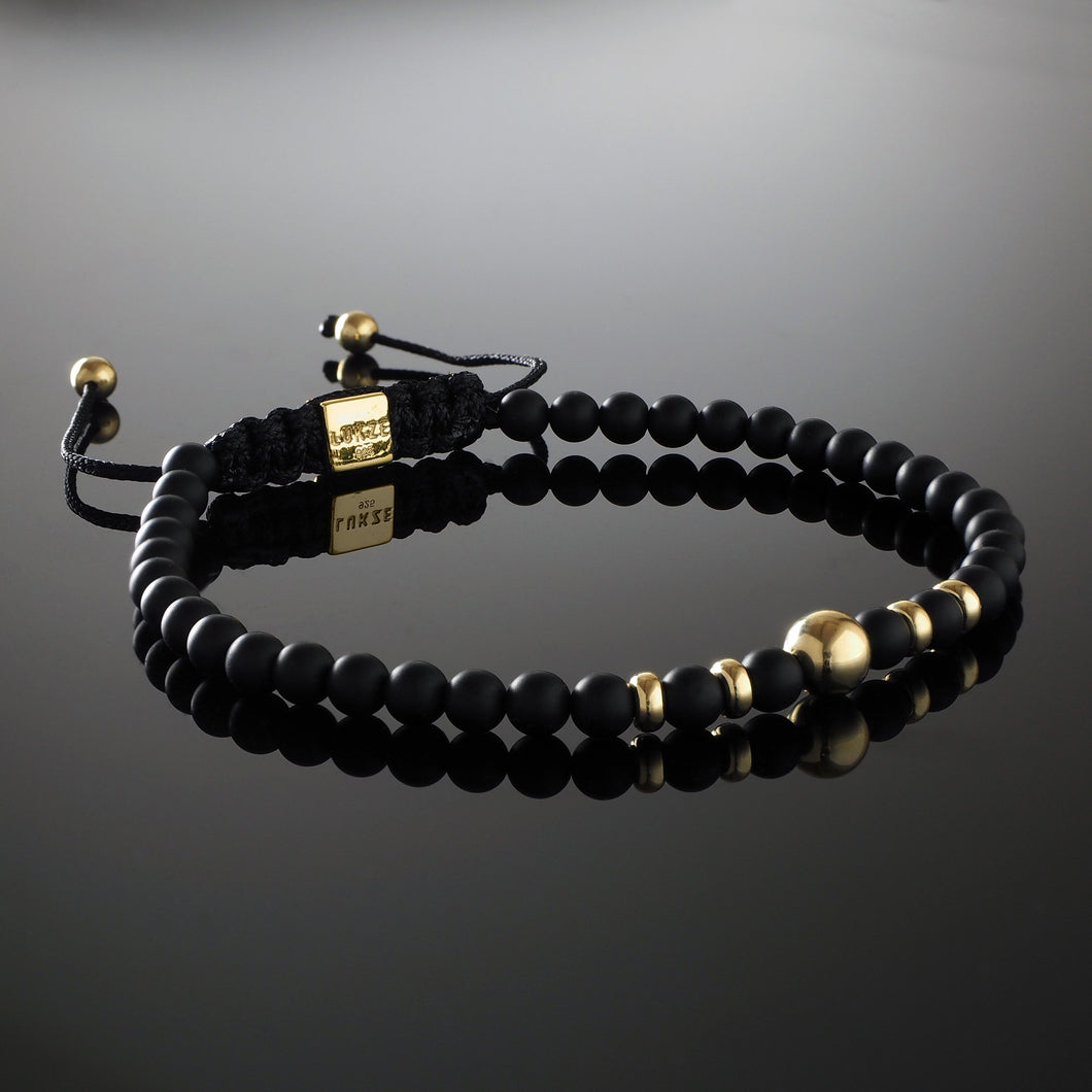 Natural Matte Black Onyx Gemstone Handmade Beaded Macrame Bracelet with 925 Sterling Silver Adjustable Yellow Gold plated Slip Knot Closure - Finished with Real 9ct Gold 4-6mm beads - Spiritual Jewelry Stones
