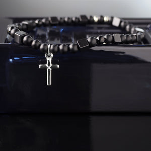 Onyx + 925 Sterling Silver Cross Charm