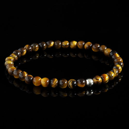Yellow Tiger Eye + 925 Sterling Silver Bracelet - Premium Mens Bead Bracelet - Lukze