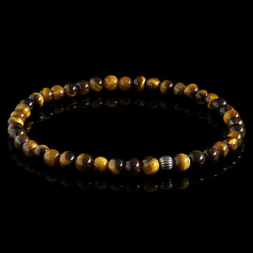 Yellow Tiger Eye + Oxidised 925 Sterling Silver Bracelet - Premium Mens Bead Bracelet - Lukze