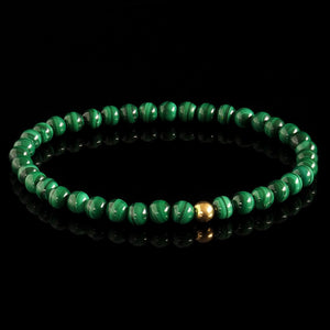 Malachite + Yellow Gold Bracelet - Premium Mens Bead Bracelet - Lukze