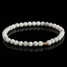 Load image into Gallery viewer, Howlite + Rose Gold Bracelet - Premium Mens Bead Bracelet - Lukze