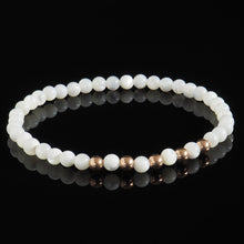 Load image into Gallery viewer, Mother of Pearl + Rose Gold Pentade Bracelet - Premium Mens Bead Bracelet - Lukze