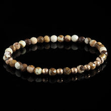 Load image into Gallery viewer, Faceted Brown Zebra Jasper + Rose Gold Pentade Bracelet - Premium Mens Bead Bracelet - Lukze