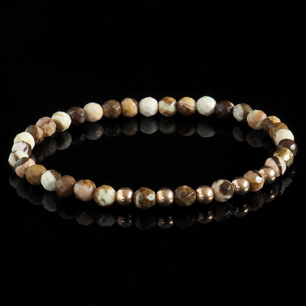 Faceted Brown Zebra Jasper + Rose Gold Pentade Bracelet - Premium Mens Bead Bracelet - Lukze