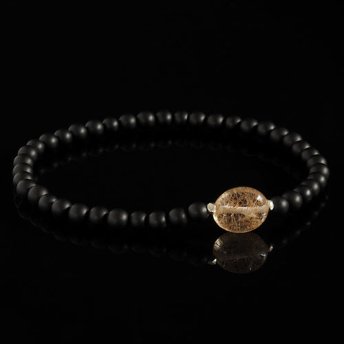 Copper Rutilated Quartz Nugget, 925 Silver + Onyx Bracelet - Premium Mens Bead Bracelet - Lukze