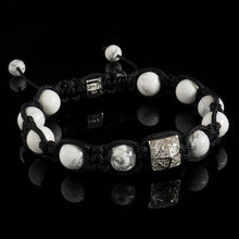 Load image into Gallery viewer, Howlite + Diamond Shamballa Bracelet - Premium Mens Bead Bracelet - Lukze