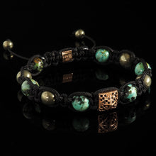 Load image into Gallery viewer, African Turquoise, Pyrite + Diamond Shamballa Bracelet - Premium Mens Bead Bracelet - Lukze