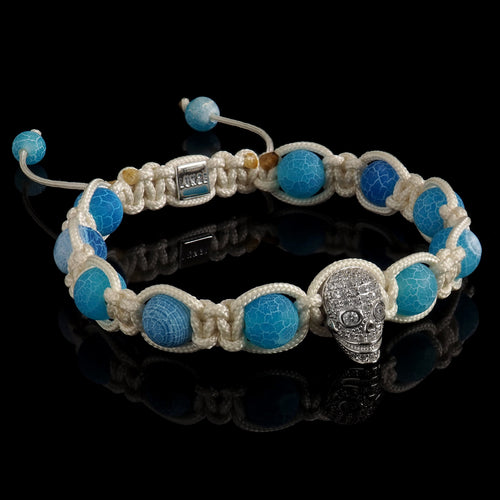Blue Crackled Agate & White Diamond Skull Bracelet - Premium Mens Bead Bracelet - Lukze