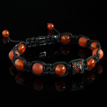 Load image into Gallery viewer, Crimson CZ Diamond + Carnelian Shamballa Bracelet - Premium Mens Bead Bracelet - Lukze