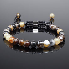 Load image into Gallery viewer, Brown Striped Agate Macramé Bracelet