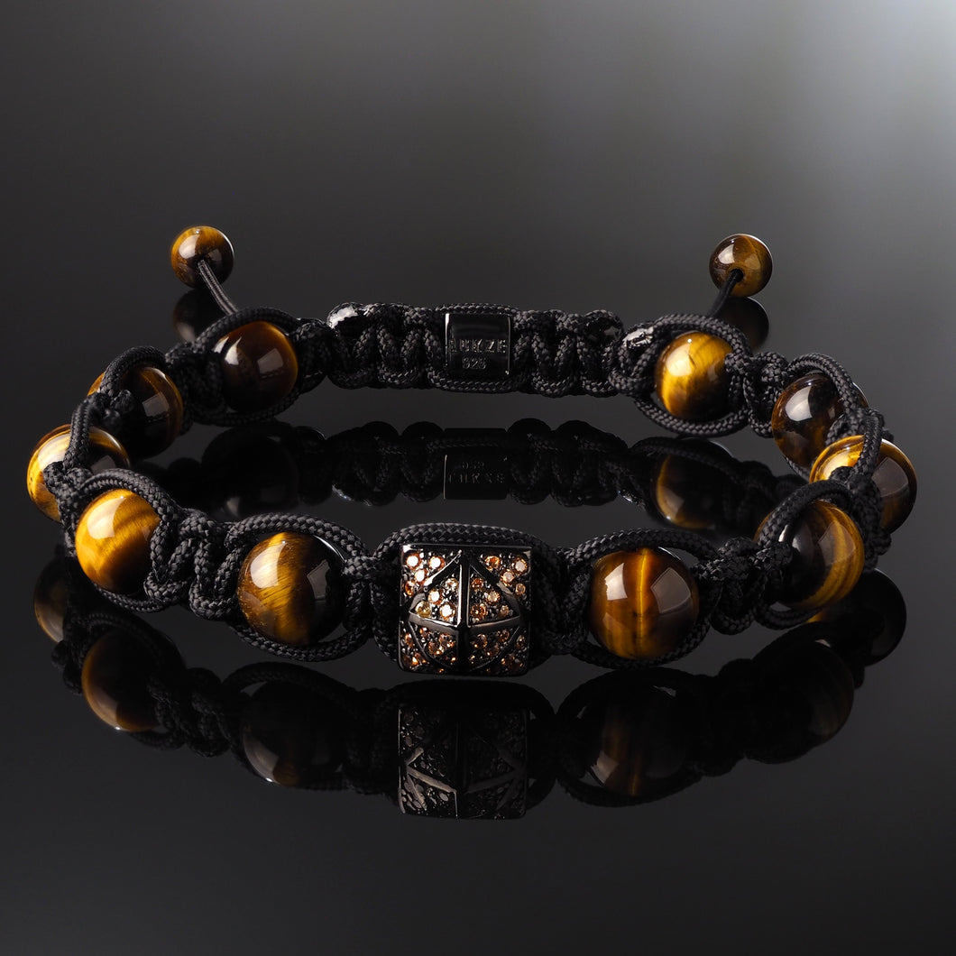 Champagne CZ Diamond + Yellow Tiger's Eye Shamballa Bracelet