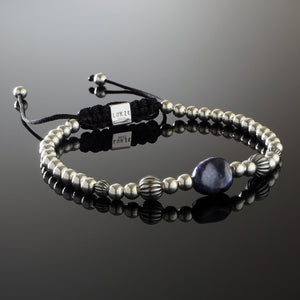Natural A Grade Blue Sapphire Nugget Gemstone Handmade Beaded Bracelet with 925 Sterling Silver Accents and Adjustable White Gold Slip Knot Closure - Finished with Oxidised Sterling Silver Elements - Spiritual Jewelry Stones