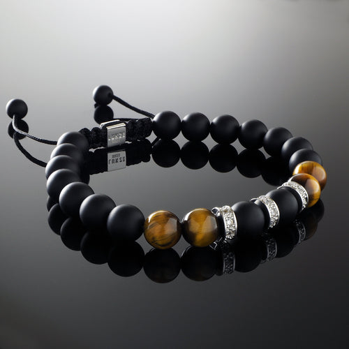 Natural Yellow Tiger's Eye Gemstone Handmade Beaded Macrame Bracelet with 925 Sterling Silver Accents and Adjustable White Gold Slip Knot Closure - Accented with Cubiz Zirconia CZ Diamonds - Spiritual Jewelry Stones