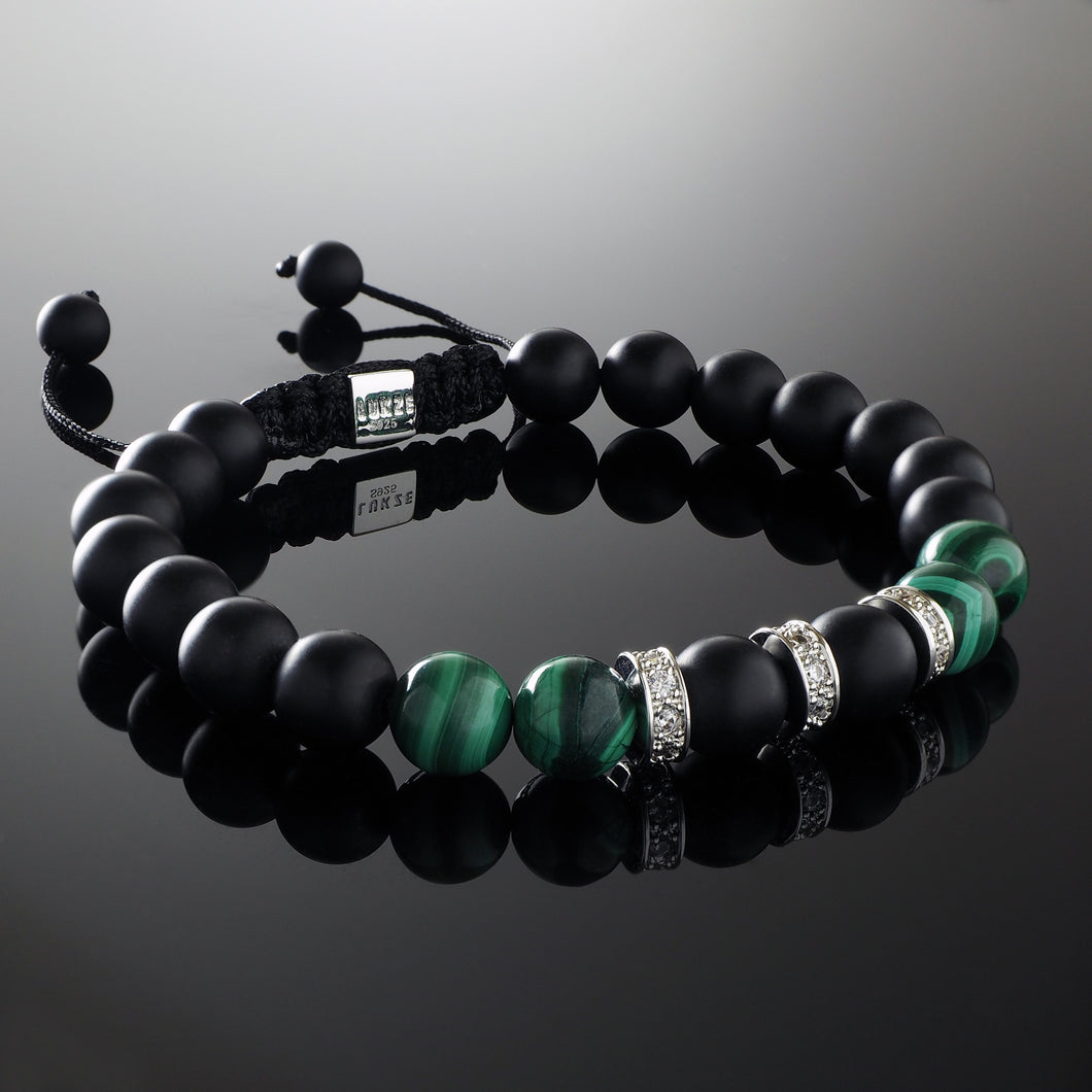 Natural Malachite Gemstone Handmade Beaded Macrame Bracelet with 925 Sterling Silver Accents and Adjustable White Gold Slip Knot Closure - Accented with Cubiz Zirconia CZ Diamonds - Spiritual Jewelry Stones