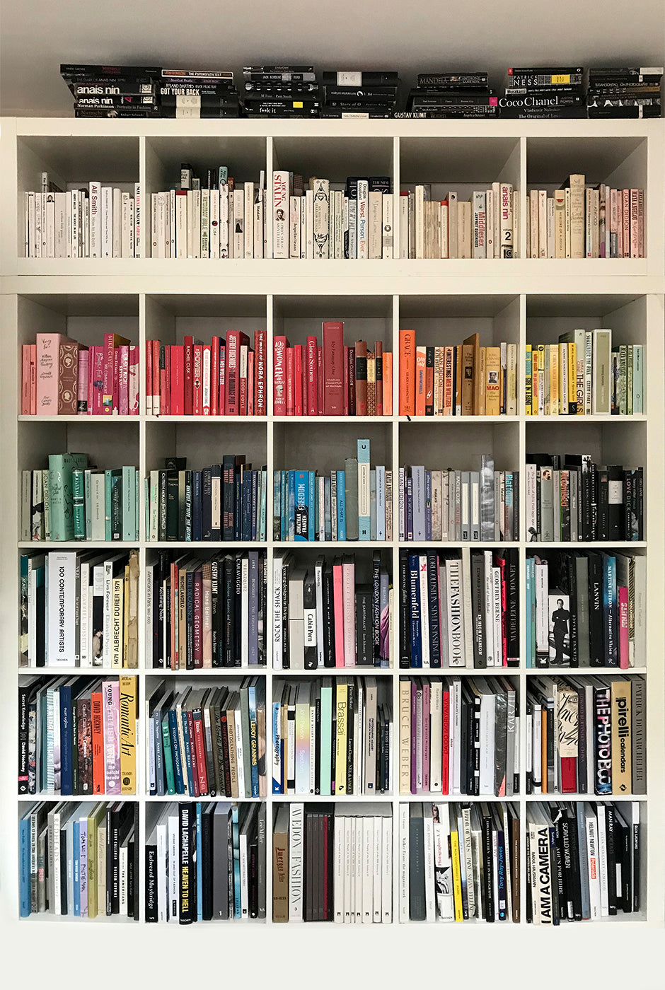 Laura's rainbow-styled bookcase